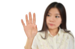 Business woman try to touch Stock Photo
