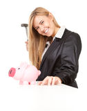 Business woman trying to break pink piggy bank. Business woman with hammer trying to break pink piggy bank, white background Stock Photography