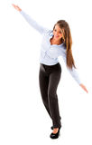 Business woman trying to fly Stock Photo