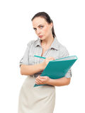 Business woman with a turquoise folder Stock Photos