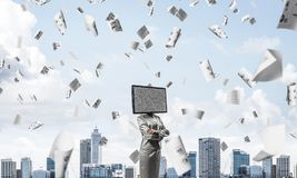 Business woman with TV instead of head. Royalty Free Stock Images