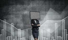 Business woman with TV instead of head. Royalty Free Stock Photo