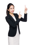 Business woman with two finger point up Royalty Free Stock Photos