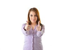 Business Woman Two Thumbs Up. Excited business woman with two thumbs up for success looking straight Stock Photo