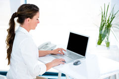 business woman tying on her laptop Stock Image