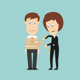 Business woman tying up businessman Royalty Free Stock Photo