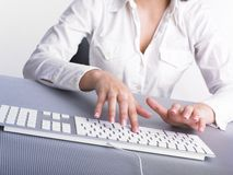 Business Woman Typing on Computer Keyboard Stock Photos