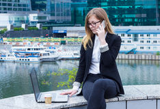 Business woman typing on laptop and talking on the phone on the background of skyscrapers. Attractive Business woman typing on laptop and talking on the phone on Royalty Free Stock Photos