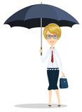 Business woman with umbrella Royalty Free Stock Images