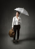 Business woman with umbrella Royalty Free Stock Photo