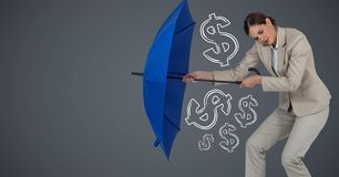 Business woman with umbrella gathering money graphics against grey background Royalty Free Stock Photo