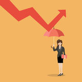 Business woman with umbrella protecting from graph down. Business concept Royalty Free Stock Image