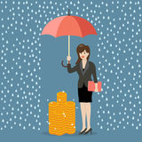 Business woman with umbrella protecting her money from financial Royalty Free Stock Photos