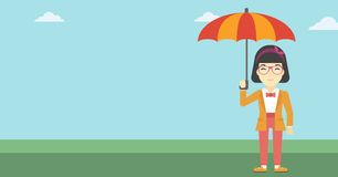 Business woman with umbrella vector illustration. Stock Photos