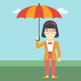 Business woman with umbrella vector illustration. Stock Image