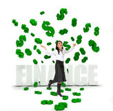 Business woman under a money rain Stock Photography