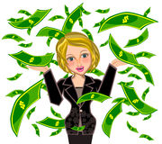 Business woman under Money rain Royalty Free Stock Photography