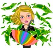 Business woman under Money rain illustration Royalty Free Stock Photography