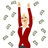 Business woman under a money rain royalty free illustration