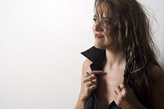 Business woman undressing Royalty Free Stock Image