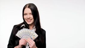 Business woman with us dollar money stock video footage