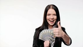 Business woman with us dollar money stock footage