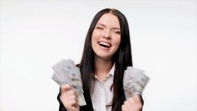 Business woman with us dollar money. Closeup of young business woman with us dollar money in hand enjoying success screaming of joy stock video