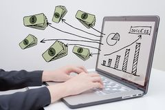 Business success concep. Business woman use computer with `business success concept` presentation royalty free stock photos