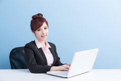 Business woman use computer Royalty Free Stock Photos