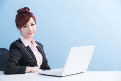 Business woman use computer royalty free stock image