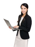 Business woman use laptop computer Royalty Free Stock Photo