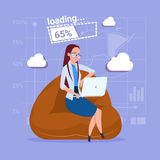 Business Woman Use Laptop Computer Loading Software Applications Media Social Network Communication Businessman. Flat Design Vector Illustration stock illustration
