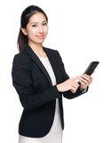 Business woman use mobile phone Stock Photos