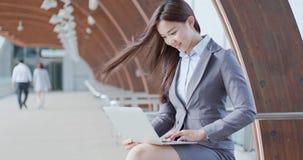 Business woman use notebook work stock photos