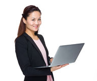 Business woman use portable computer Stock Images