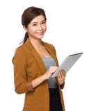 Business woman use of tablet Stock Photos