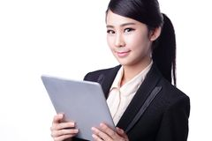 Business woman use tablet Royalty Free Stock Photos