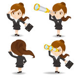 Business woman use telescope Stock Images