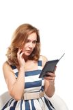 Business woman uses a ebook Stock Photo