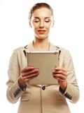 Business woman uses a mobile tablet computer Stock Images