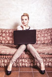 Business woman using computer. Internet home techn Royalty Free Stock Photos