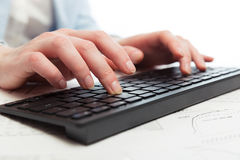 Business woman using computer keyboard Royalty Free Stock Photo