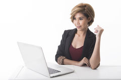 Business woman using computer laptop Royalty Free Stock Image