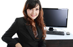 Business woman using computer at work Royalty Free Stock Photo