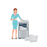 Business woman using copy machine or printing machine. Royalty Free Stock Photography