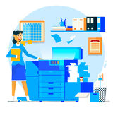 Business woman using copy machine or printing machine with stacked pile of file documents. Vector illustration. Business woman using copy machine or printing Royalty Free Stock Photos