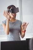 Business woman using 3D glasses Stock Photos