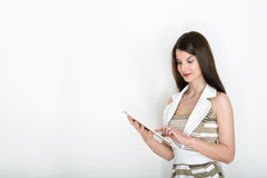 Business woman using digital tablet, business portrait on white background Royalty Free Stock Photo