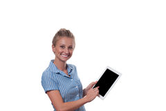 Business woman using digital tablet computer on white background. Royalty Free Stock Photos