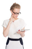 Business woman using digital tablet PC Royalty Free Stock Photos